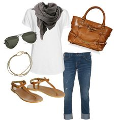 A fashion look from March 2012 featuring MANGO t-shirts, True Religion jeans and Bruuns Bazaar sandals. Browse and shop related looks.