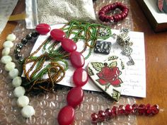 The excellent array of companion beads Terri sent-- and seed beads! Because she's awesome :) Red Wood, Earthy, Seed Beads, Heart Shapes, Jade, Studios, Charms, Soup, Gift Wrapping