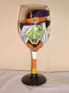 Hand Painted Witching Hour Halloween Wine Glass. by JordanFeesArt, $30.00