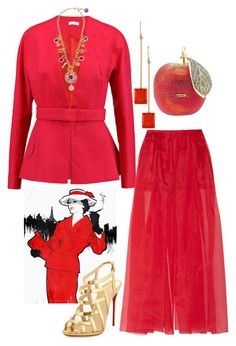 """""""Fire Opal"""" by easy-dressing ❤ liked on Polyvore featuring Oliver Gal Artist Co., Delpozo, Dolce&Gabbana, Irene Neuwirth, Judith Leiber, Christian Louboutin, WhatToWear, polyvoreeditorial and fireopal"""