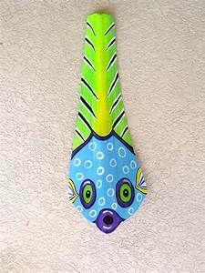 Puffer Fish Tiki Mask on Fan Palm Frond