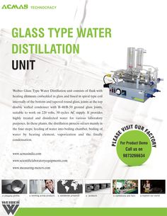 E-mailer of Glass type water Distillation Unit Microbiology, Flask, The Unit, Type, Water, Quartz, Products, Gripe Water, Gadget