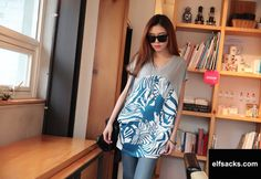 Womens Loose Patchwork V-neck Short Sleeve Gray Tshirt