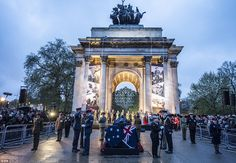 UK ceremony: Thousands of people also gathered at Wellington Archin London this morning to mark ANZAC day  April 25, 2015