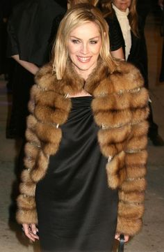 Celebrities Who Wear Fur: Sharon Stone in a Fur Coat