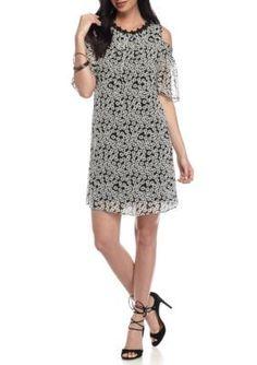 Taylor  Cold Shoulder Printed A-Line Dress