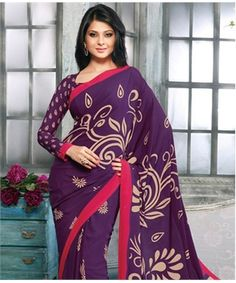 Poly Crepe Saree with Blouse | is surely going in my Shopping Cart today. What about you?