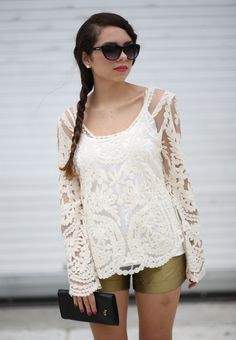 Lace top with metallic shorts