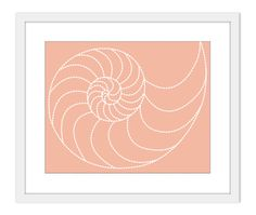Nautilus Art Print - Nautical- Natural History -Fossil Spiral - Peach - Pastel Colors - Sea Life - Beach House Decor. $18.00, via Etsy.