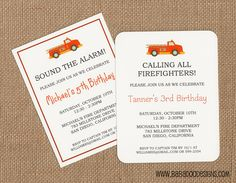 Fire Truck Invitation: (multiple styles)  www.BabadooDesigns.com