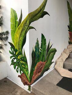 Garden Fence Art, Garden Mural, Mural Art, Wall Murals, Flower Mural, Plant Wallpaper, Painted Leaves, Unique Wall Decor, Simple Flowers
