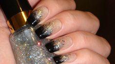Black & Silver Glitter Gradient