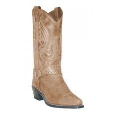 Abilene Ladies Cowgirl Boots Tan Distressed with Studded BraceletAbilene style 9124 adds a little oomph to the traditional Western style. The �oomph� comes from the studded bracelet draped around the throat that connects to two harness rings. The Tan Distressed leather is very neutral and will look amazing with any color palette you pair them with. You can wear these boots to any occasion that...