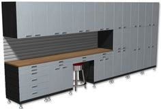 17.5 Foot Stainless Steel Cabinet Set   Car Guy Garage