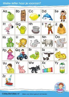 Letterkaartjes voor de taalhoek, letters herkennen, eerste letter, kleuteridee, free printable.
