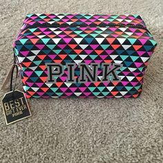 VS PINK Multicolor Make up Bag Case Pouch Best New with tags. Big make up case pouch. PINK Victoria's Secret Bags Cosmetic Bags & Cases
