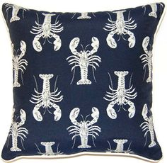 Navy Blue Lobster Pillow.... http://www.completely-coastal.com/2017/01/navy-blue-pillows-for-coastal-style.html