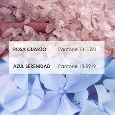 Decoración 2016, rosa cuarzo y azul serenidad. Pantone 2016, Pantone Color, Palette, Roomspiration, 2016 Trends, Glam Rock, Ideas Para, Colours, Inspiration