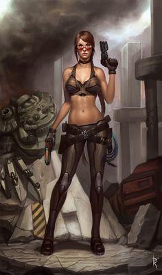 Cyberpunk, Future, Futuristic, Sci-Fi, Girl Warrior, Girl with Gun, Sexy Comic Girl, Imogene - Commission by *Zeronis on deviantART