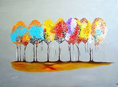 autumn tree abstract painting  canvas painting Original