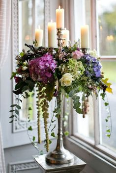 Gorgeous hydrangea-adorned candelabras from Flower Design Events