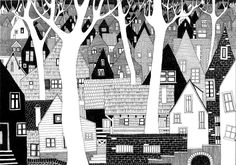 White trees and little houses. Architectural drawing by Joanna Nykiel