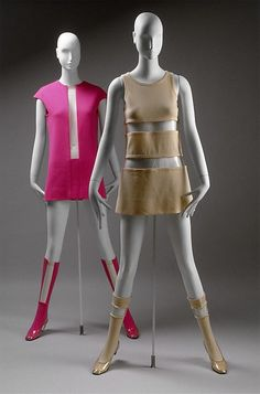 These dresses designed by Rudi Gernreich are examples of fashion inspired by the space age of 1960s. Space age fashion has precise unadorned lines and geometrical shapes. Often the material used was similar to those required for the technological advances that accompanied space exploration.