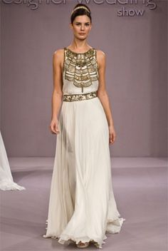 Ancient Greece Doric Peplos influence and banded. Detailed with embellishments