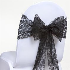 Wedding Chair Sashes, Bow Tie Wedding, Wedding Chairs, Wedding Table, Black Tie Party, Black And White Wedding Theme, Lace Table Runners, Wedding Supplies, Wedding Decorations