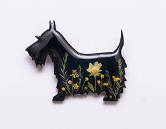 Black scottish terrier brooch Scotty dog pin Real flower