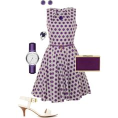 """""""Purple Polka-dot Dress Outfit"""" by hread on Polyvore"""