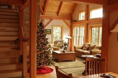 Post and beam homes is especially beautiful around Christmas!