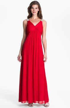 Hailey by Adrianna Papell Embellished Strap Knot Front Gown available at #Nordstrom
