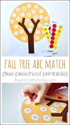 I HEART CRAFTY THINGS: Fun Fall Tree ABC Match Preschool Printable