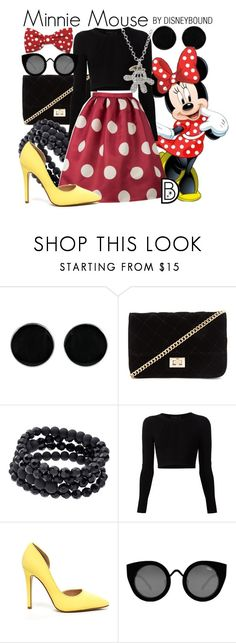"""Minnie Mouse"" by leslieakay ❤ liked on Polyvore featuring AeraVida, Forever 21, Apt. 9, Cushnie Et Ochs, Quay, Disney, disney, disneybound and disneycharacter"