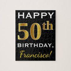 Black Faux Gold 50th Birthday  Custom Name Jigsaw Puzzle - birthday gifts party celebration custom gift ideas diy