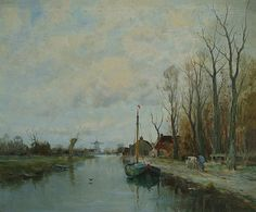 "Charles Gruppe ""Along the Canal"" 24x30 Oil on Canvas"