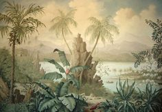 Tropical landscape - part of a hand painted mural triptych by Lucinda Oakes Scenic Wallpaper, Of Wallpaper, Jungle Art, Wall Murals, Wall Art, Tropical Landscaping, Tropical Gardens, Mural Painting, Tropical Decor