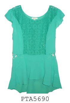 Blusa en chifon y encaje , colores Salmon, verde y azul marino.....tallas 1xl , 2xl y 3xl.