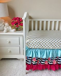 Watercolor Floral Stripe, Gold Dot, Aqua, and Hot Pink Crib Bedding