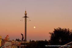 Wien, Prater amusement park. Sunset and the Prater Turm -swing