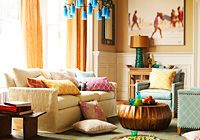 So lovely to see so much colour being used but still a neutral sofa- smart