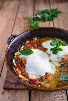 Hähnchenbrust und Gemüse aus dem Backofen,mit Mozzarella...