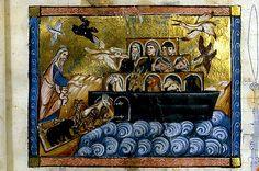 Noah embarks on Ark. France c. 1260-70. Dijon ms 0562. Enluminures