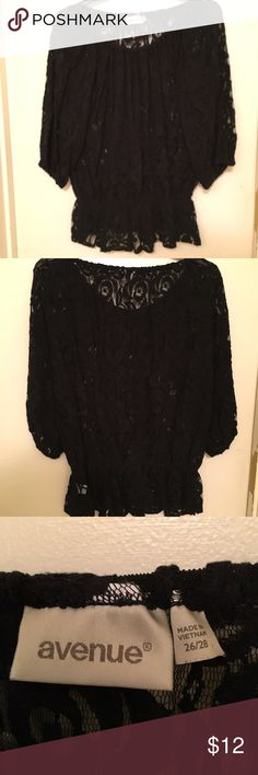 Floral Lace Top Black color, thick lace, floral pattern. 3/4 length sleeves. Elastic around neck, bottom, and end of sleeves. However, the bottom flares out a little bit, sort of reminiscent to a peplum top, just shorter, making it cute and feminine! Only worn a handful time times, still in pretty good condition. If you want to see more pictures, just let me know! Washed since last worn but will wash again if requested. From a smoke-free, shed-free environment. Avenue Tops Blouses