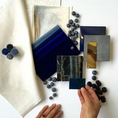 Sometimes it can work to draw your inspiration into the finished mood board - like with these blueberries! Material Color Palette, Mood Board Interior, Interior Design Presentation, Fabric Board, Material Board, Mood And Tone, Concept Board, Colour Board, Interior Design Studio