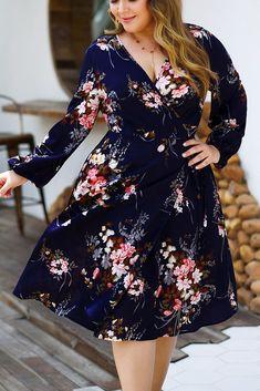 Plus Size Floral Printed Skater Dress – Lolgals Plus Size Summer Dresses, Casual Summer Dresses, Modest Dresses, Plus Size Dresses, Plus Size Outfits, Short Dresses, Dresses For Work, Plus Size Skater Dress, Dress Long