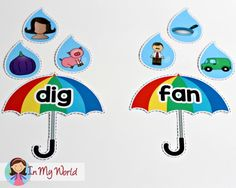 Spring Preschool Centers Raindrops and Umbrella rhyming
