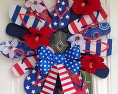 patriotic flip flop wreath - red white and blue