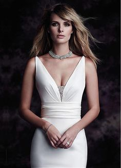 Elegant Stretch Satin V-neck Mermaid Wedding Dresses with Rhinestones